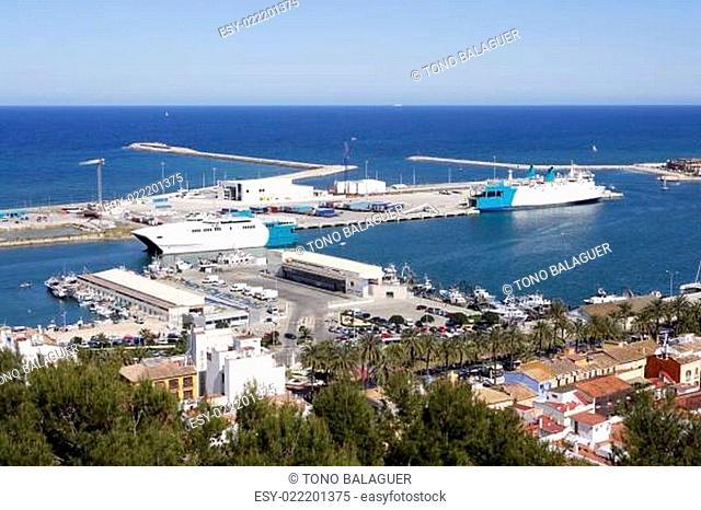 Denia Alicante Spain high view marina