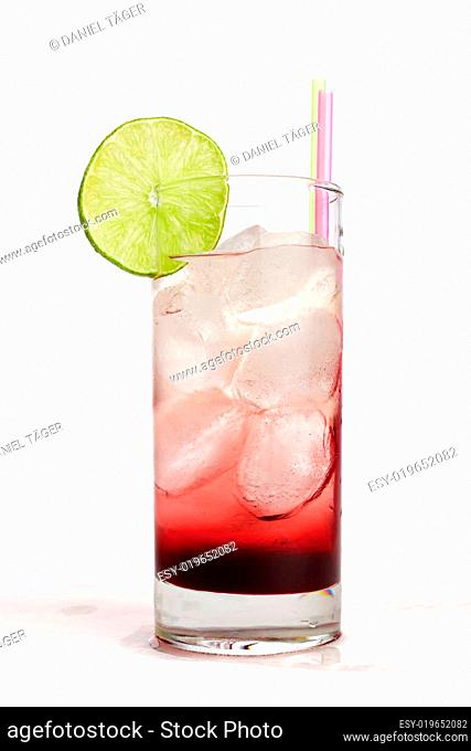 Red fruit juice with lemon