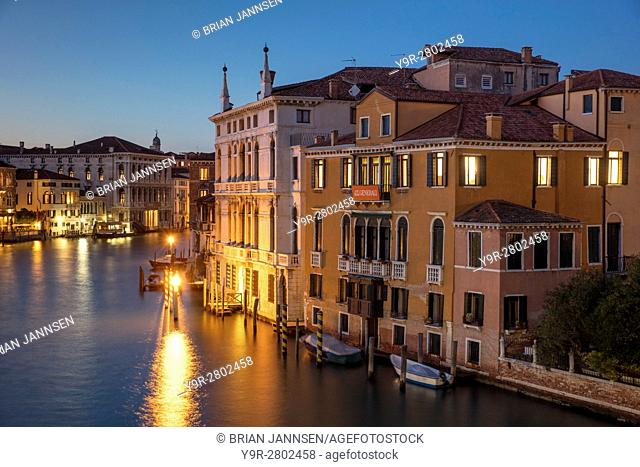 Twilgiht over the buildings along the Grand Canal, Venice, Veneto, Italy