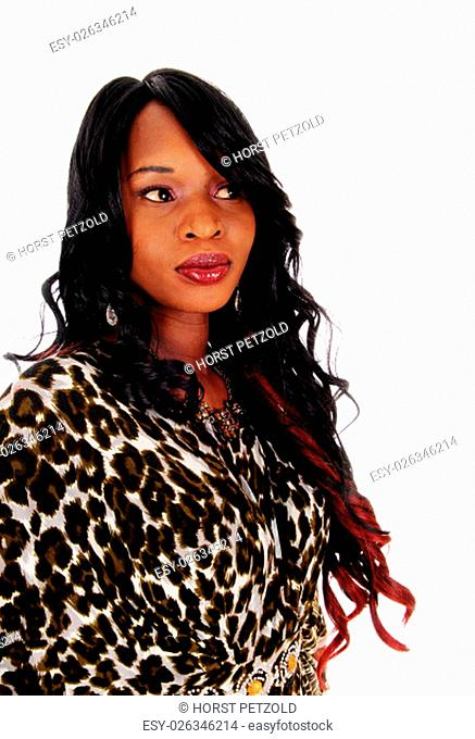 A gorgeous African American woman in an African dress, smiling,.with long curly black hair, isolated for white background.