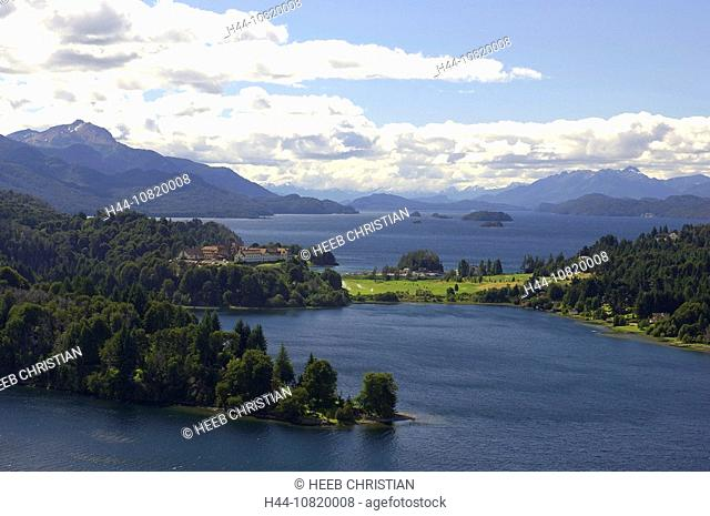 View, over Hotel Llao Llao, Lago Nahuel Huapi, Parque National Nahuel Huapi, San Carlos de Bariloche, Rio Negro, Patag