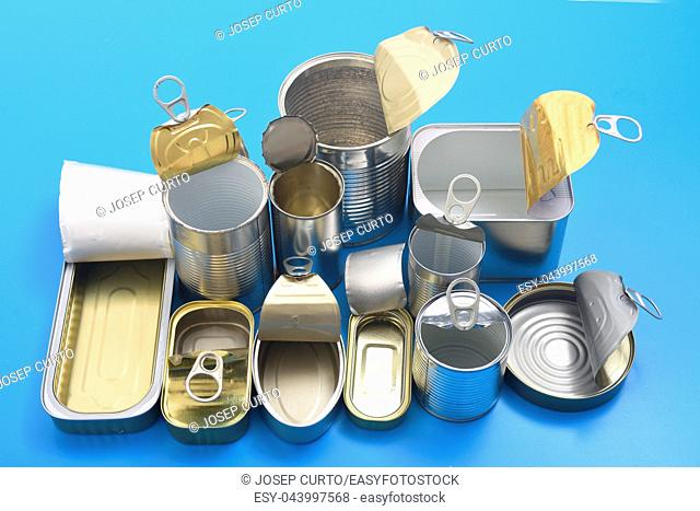 view of tin can isolated on blue