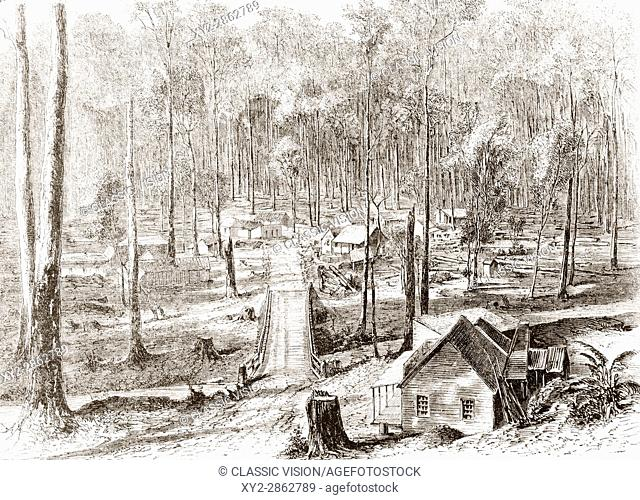 The Fernshaw colony, Woods Point, Victoria, Australia in the 19th century. From L'Univers Illustre published 1867