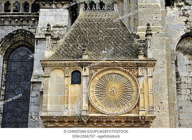 Astronomical clock on the North facade of the Cathedral of Our Lady of Chartres, Chartres, Eure & Loir department, region Centre, France, Europe