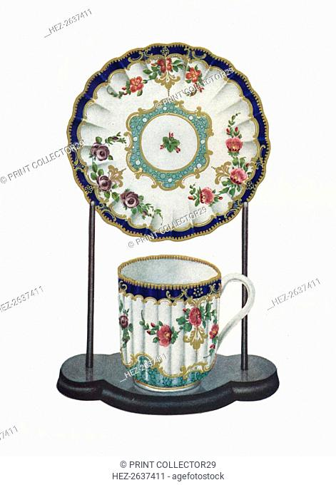 Worcester cup and saucer, c1770. Artist: Unknown