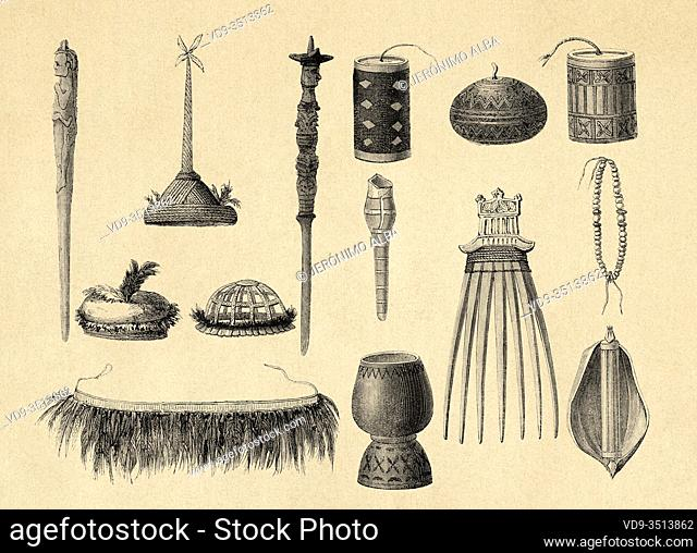 Timorese weapons and tools, Timor island, Indonesia, Asia. Old engraving illustration, The Malay Archipelago by Alfred Russell Wallace