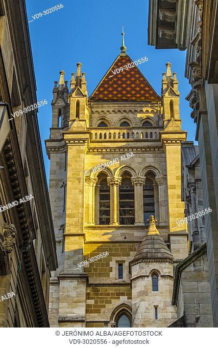Saint-Pierre cathedral, historic center. Old town, Geneva. Switzerland, Europe