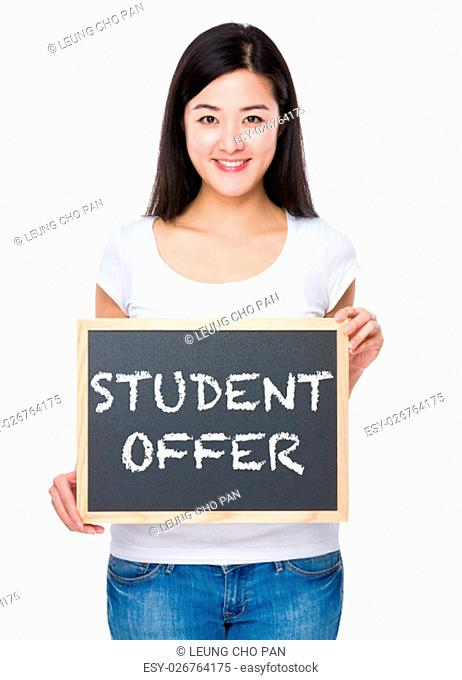 Student with chalkboard showing student offer