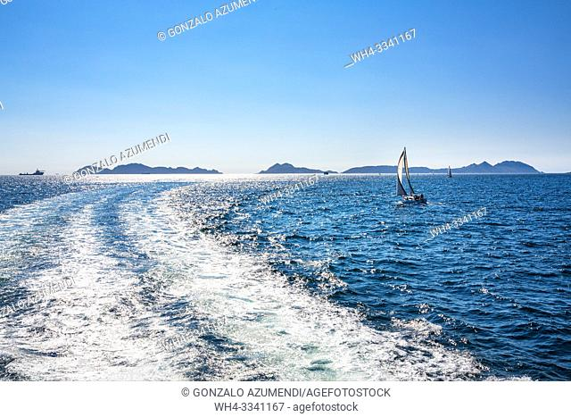 Cruise from Cangas de Morrazo to Cíes Islands. Pontevedra Province. Galicia. Spain