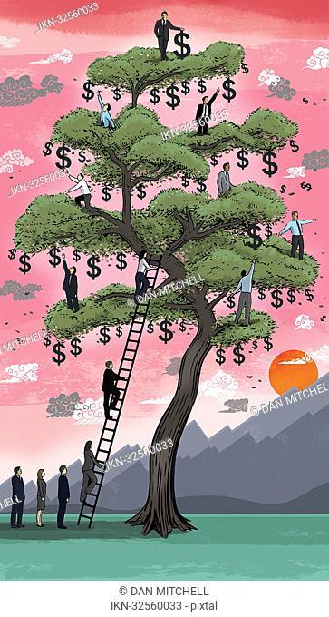 Business people climbing on money tree