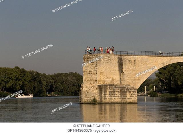 SAINT BENEZET BRIDGE, CALLED THE BRIDGE OF AVIGNON, SITUATED ON THE RHONE, CITY OF AVIGNON CALLED CITY OF THE POPES AND LISTED AS A WORLD HERITAGE SITE