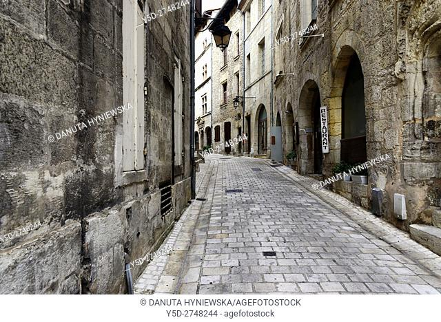 Rue de la Nation seen from Avenue Daumesnil - on right Hercule Poireau restaurant, Old Town of Périgueux, World Heritage Sites of the Routes of Santiago de...