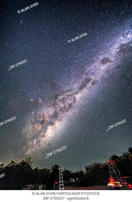 The galactic centre area of the Milky Way in Sagittarius and Scorpius rising over some of the telescopes of the OzSky Star Party, April 2016
