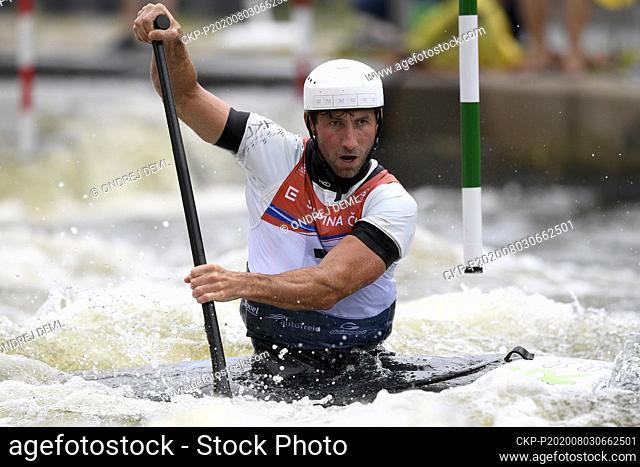 Vitezslav Gebas of Czech Republic competes in the men's C-1 canoe slalom final at the Czech Cup in Prague-Troja, Czech Republic, August 2, 2020
