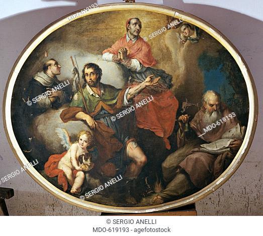 Saints Vincent Ferrer, Roch, Charles Borromeo and Anthony the Great (I santi Vincenzo Ferrer, Rocco, Carlo Borromeo e Antonio Abate), by Agostino Ugolini, 1814