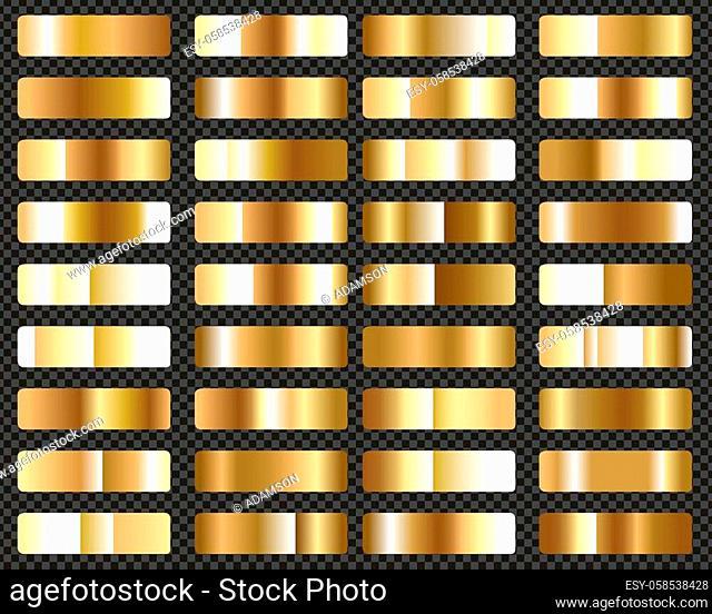 Big Set Of Metallic Gold Gradients Transparent Background, Vector Illustration