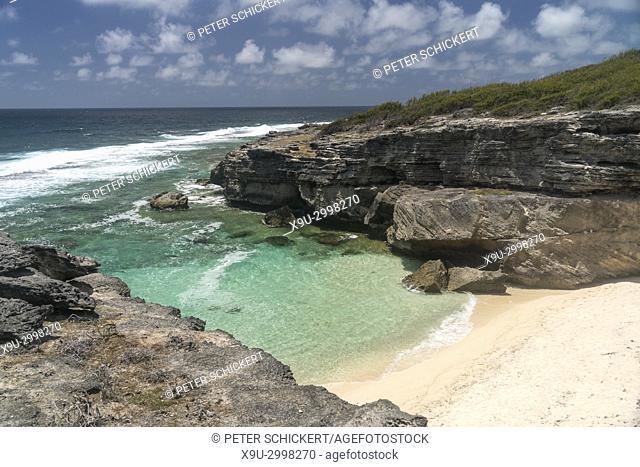 Beach and bay Trou d`Argent near Saint Francois, Rodrigues island, Mauritius, Africa