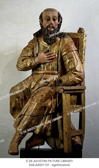 St Joachim, painted and gilded wooden statue. Mexico, 17th and 18th century.  Oaxaca, Museo De Las Culturas De Oaxaca (Art Museum)