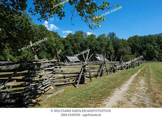 The Split Rail Fence at the Mountain Farm Museum, which has a unique collection of historic log buildings assembled from locations throughout the Great Smoky...
