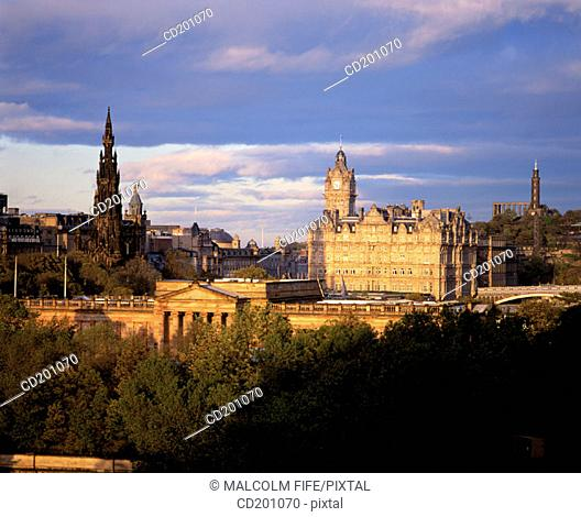 The Mound and City Centre. Edinburgh. Scotland