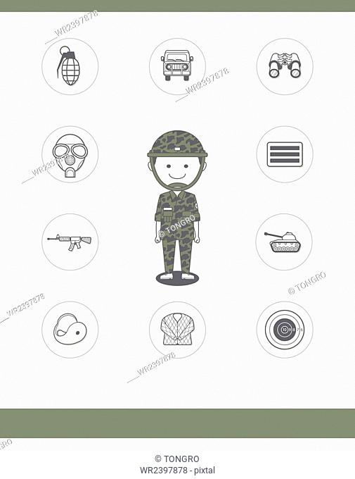 Soldier and various icons related to the job