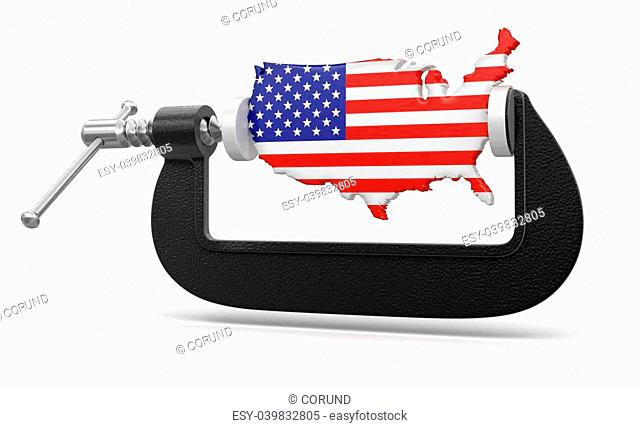 USA in clamp. Image with clipping path