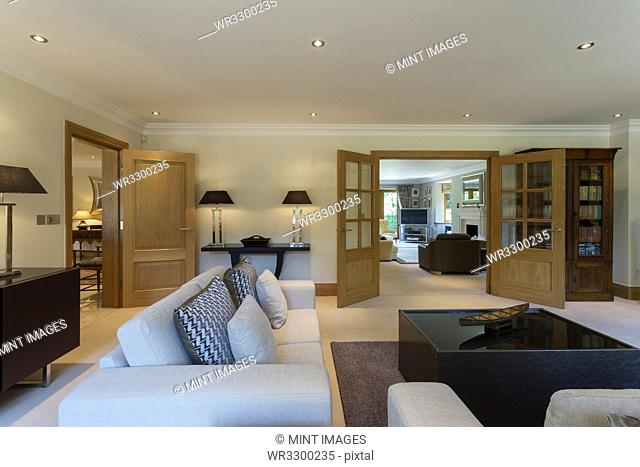 Sofa and tables in modern living room