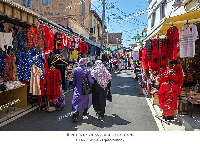 Street market beind the Ruga Myslym Shyri in central Tirana, Albania,