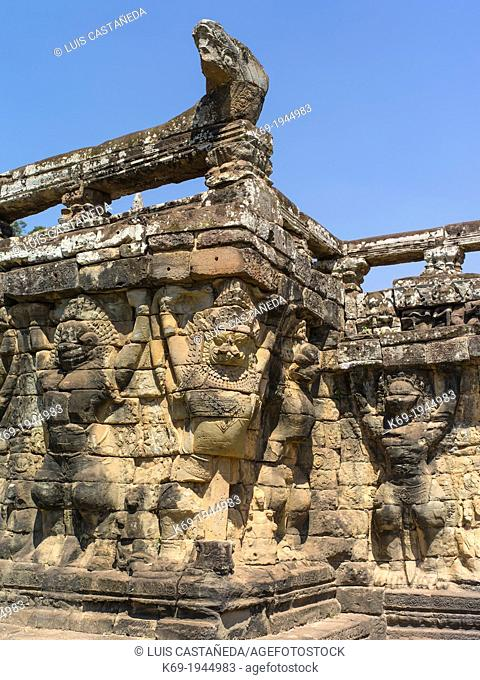 The Terrace of the Elephants is part of the walled city of Angkor Thom, a ruined temple complex in Cambodia. The terrace was used by Angkor's king Jayavarman...