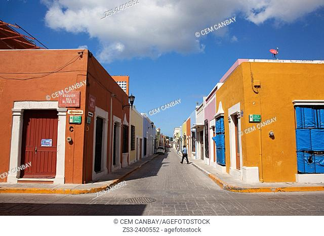People walking in the street at the historic center of Campeche, Campeche Region, Yucatan, Mexico, Central America