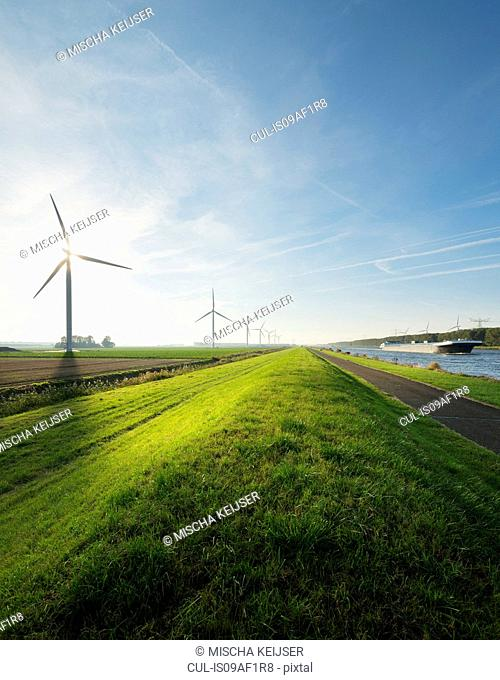 Wind turbines and canal, Bath, Zeeland, Netherlands