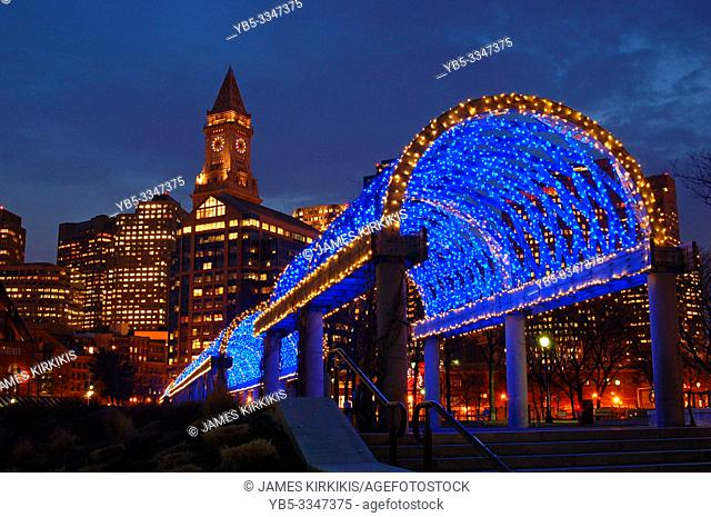 A trellis in Boston is decorated for the Christmas season