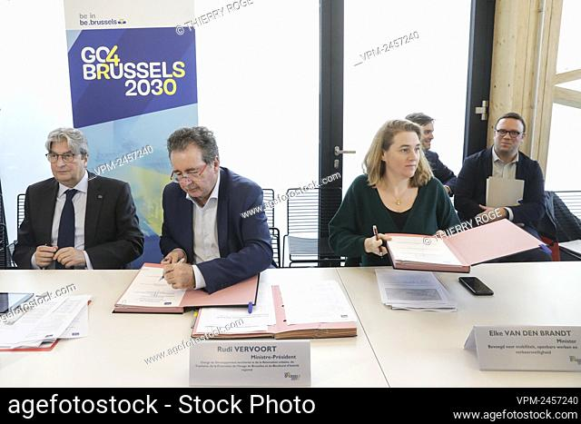 Jan De Brabander, BECI-UEB Secretary General, Brussels region Minister-President Rudi Vervoort, Brussels region Minister of Mobility, Public Works