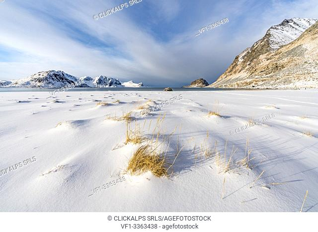 Haukland Beach with mountains in the background. Leknes, Nordland county, Northern Norway, Norway
