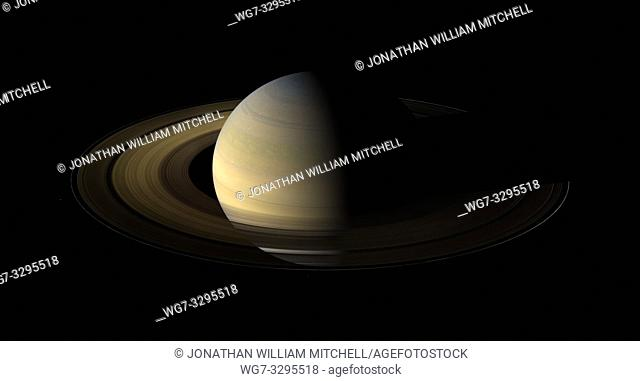 SOL SYSTEM Saturn -- 12 Aug 2009 -- The Cassini-Huygens mission has produced many spectacular images of the planet Saturn including this mosiac -- Picture by...