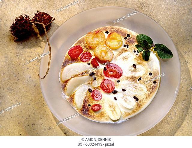 Mixed fruit zabaglione