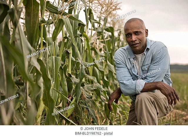 African American farmer tending crops