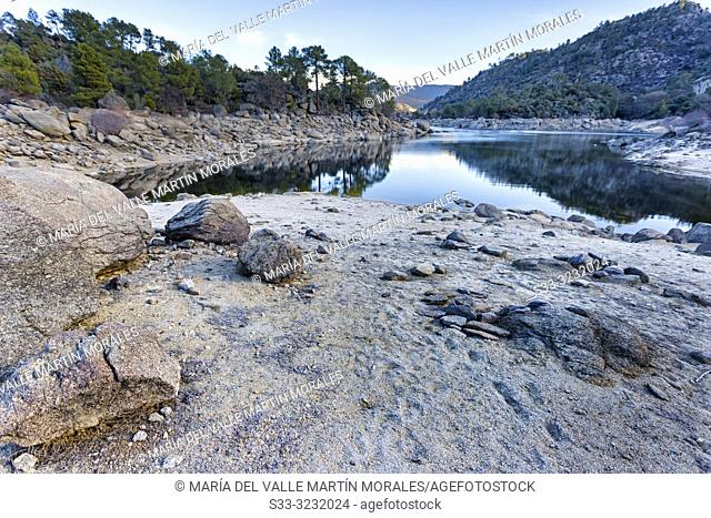 Drought at Burguillo reservoir on winter time. Iruelas Valley. Avila. Spain. Europe