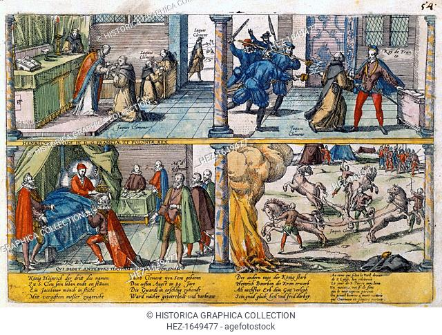 The assassination of Henry III of France, 1589. King from 1574, Henry (1551-1589) was assassinated by a Dominican friar, Jacques Clement