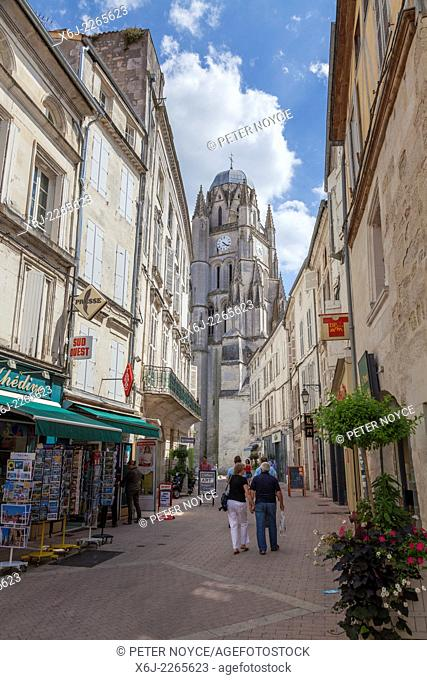 Pedestrian street leading to the cathedral in Saintes France