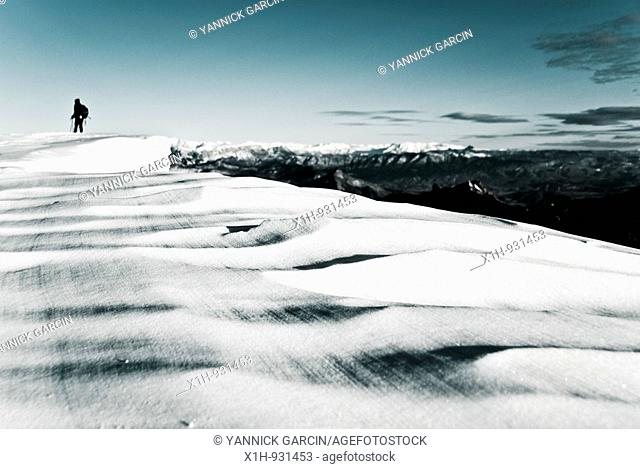 Snow cap and the walker, Ribiers, Hautes-Alpes, Southern France