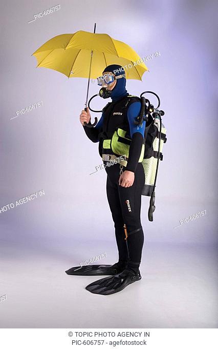 Man Wearing Diving Suit With Umbrella, Korean
