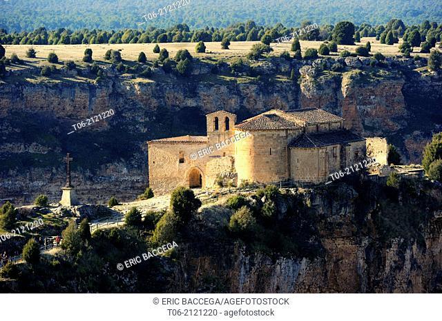 San Frutos del Duraton hermitage, Hoces del Duraton Natural Park, Segovia province, Castilla Leon, Spain, December