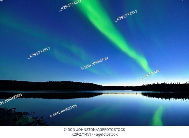 Aurora borealis (Northern Lights) over Prosperous Lake, Prosperous Lake Territorial Park, Yellowknife, Northwest Territories, Canada