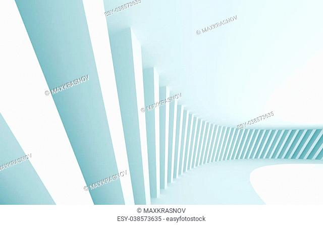 3d Illustration of Blue Abstract Architectural Design