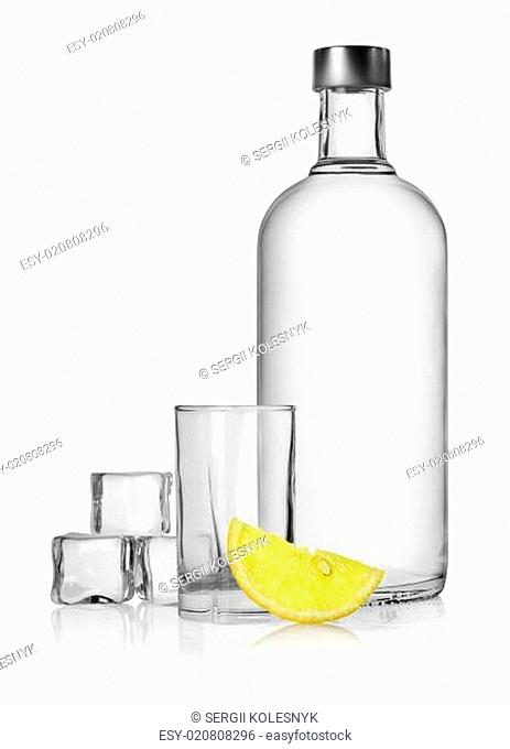 Bottle of vodka and lemon