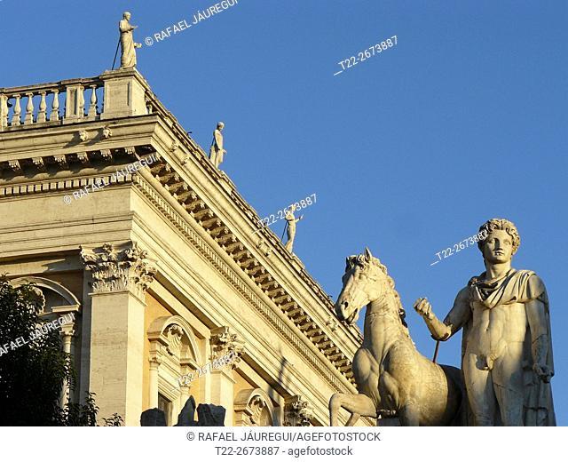 Rome (Italy). Sculpture in the Capitoline cordonata of Rome