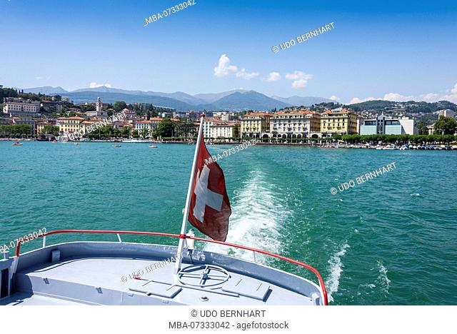 Boat trip on Lake Lugano with a view of Lugano, Ticino, Switzerland