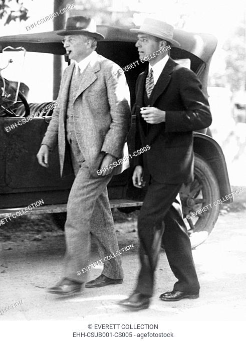 Attorneys William G. Thompson (left) and Herbert Ehrmann, lawyers for Nicola and Vanzetti. They are leaving the Dedham County Court House on Sept