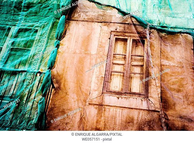 Building under rehabilitation, Valencia. Comunidad Valenciana, Spain